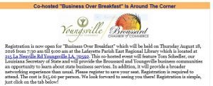"""Youngsville & Broussard Chamber """"Business over Breakfast"""" @ East Regional Library  