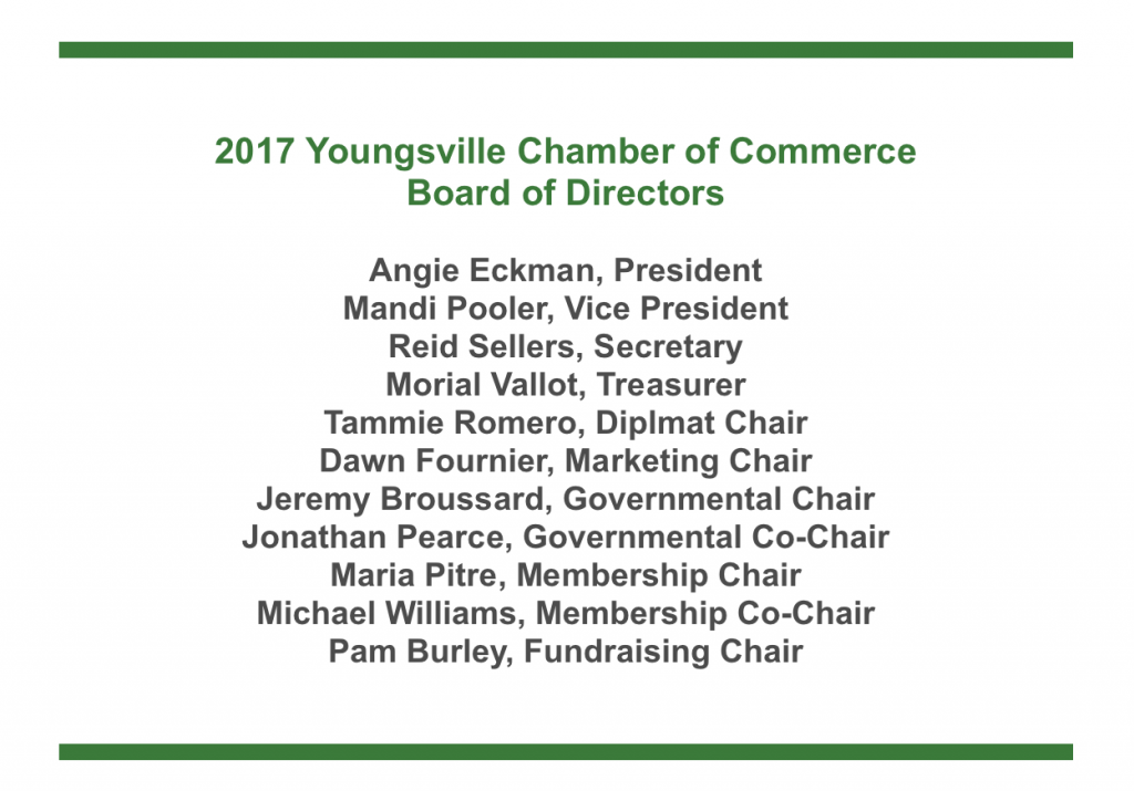 Youngsville Chamber Announces 2017 Board of Directors