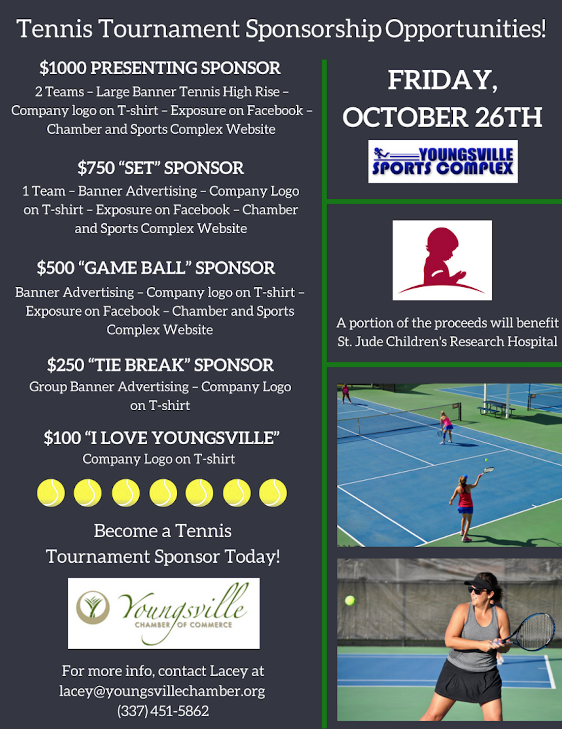 4th Annual Youngsville Chamber Tennis Tournament @ Youngsville Sports Complex | Youngsville | Louisiana | United States