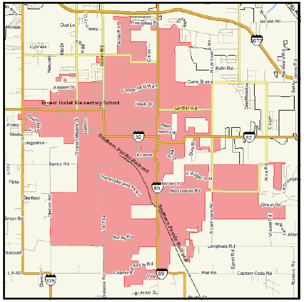 Map of Youngsville at a Glance