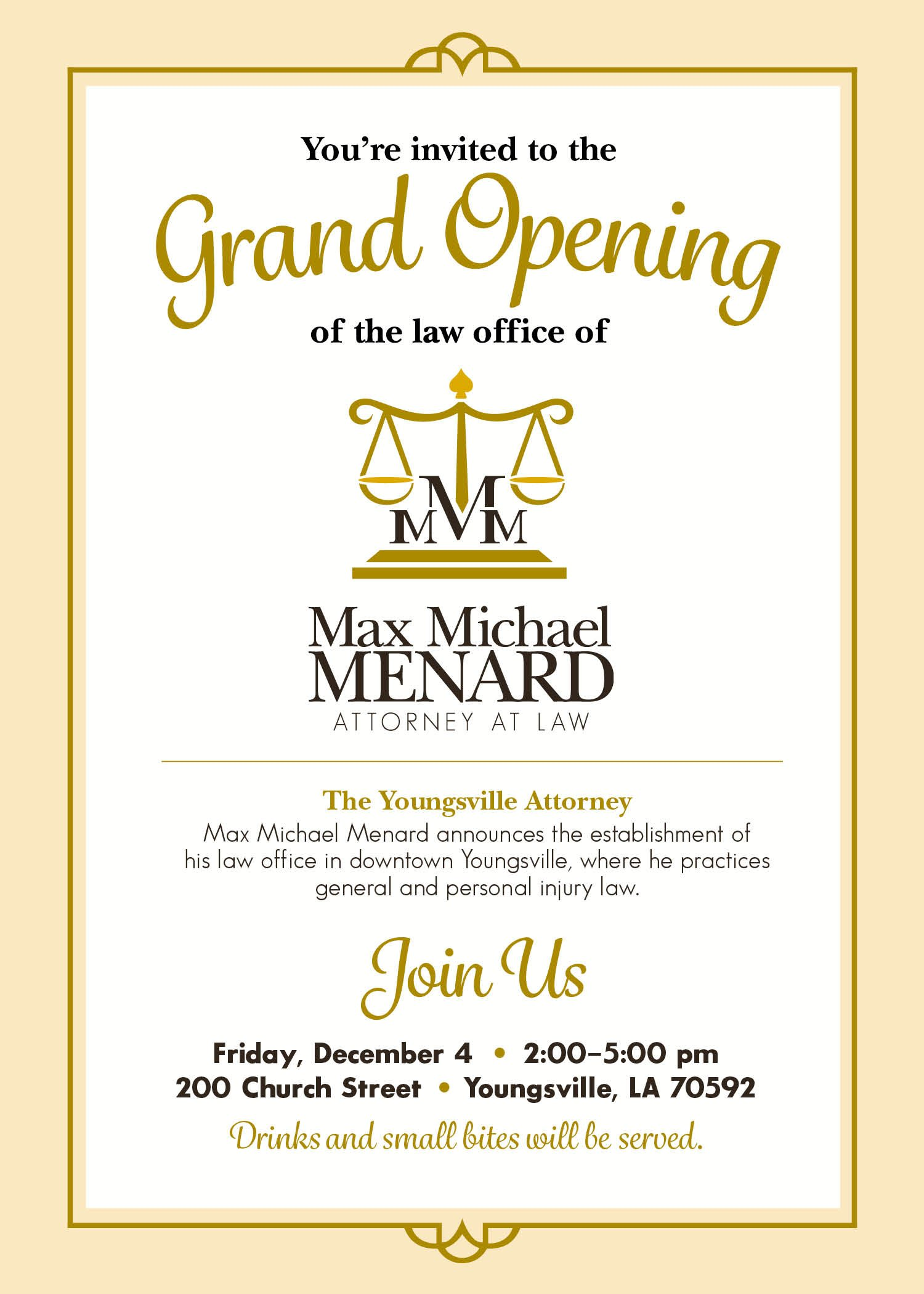 Max Michael Menard, Attorney at Law, Ribbon Cutting | Youngsville