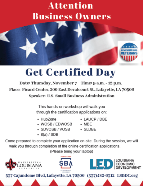 Get Certified Day @ Picard Center | Lafayette | Louisiana | United States